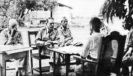 April 9, 1942: Major General Edward P. King Jr. discusses terms of surrender with Japanese officers