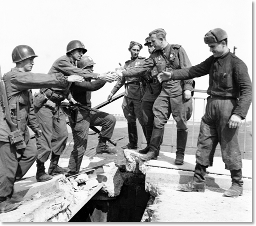 Soldiers of the 69th Infantry Division 273rd Infantry Regiment met soldiers from the Soviet 58th Guards Division on April 25, 1945 in the vicinity of Torgau, Germany on the Elbe River.
